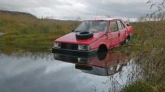 ICELAND Hildarvegur Car wreck Auto Wrack Fiat Stock Footage