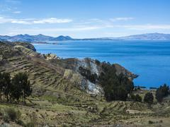 View to Titicaca lake at  Isla del Sol Stock Photos