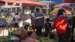 Vegetable market,Surin,Thailand Stock Footage