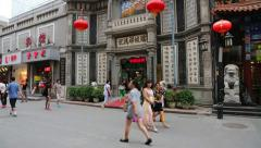 Dashilan shopping street - famous and very ancient commercial street in Beijing Stock Footage