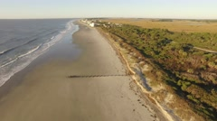 Aerial Shot looking down Folly Beach in Charleston, SC Stock Footage