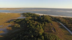 Aerial Shot of Folly Beach in Charleston, SC with the Lighthouse in the Distance Stock Footage