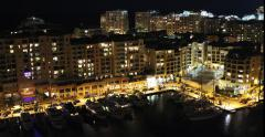 Fontvieille Harbor. Monaco By Night 4K Time Lapse Stock Footage