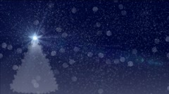 falling snow and white christmas tree - stock footage