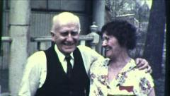 Old Couple Happily Married Hugging Smiling 1930s Vintage Film Home Movie 8613 Stock Footage