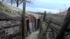 Walking in trench, soldier point of view 1. Old battlefield First World War site Stock Footage