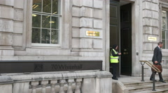entry to whitehall cabinet office, london - stock footage