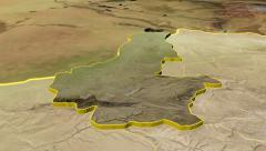Faryab - Afghanistan province extruded. Satellite - stock footage