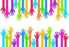 Vector modern colorful hands background. - stock illustration