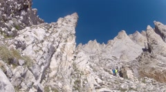 Climbing expedition, mountainering on Olymp mountain in Greece Stock Footage