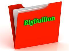 BigBullion- bright green letters on a gold folder on a white background - stock illustration