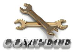 COMPETE- inscription of metal letters and 2 keys on white background Stock Illustration