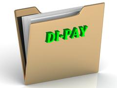 DI-PAY- bright color letters on a gold folder on a white background Stock Illustration
