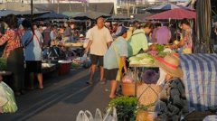 Early morning vegetable market,Surin,Thailand Stock Footage