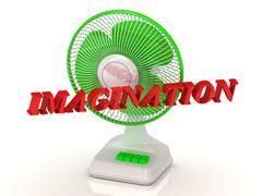 IMAGINATION- Green Fan propeller and bright color letters on a white backgrou - stock illustration