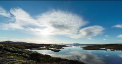 Calm clouds landscape timelapse in Iceland, Silfra Stock Footage