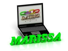 MARISSA- Name and Family bright letters near Notebook and  inscription Dating - stock illustration