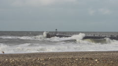 Storm at Pier North Sea Stock Footage