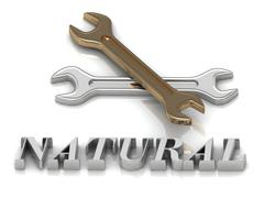 NATURAL- inscription of metal letters and 2 keys on white background - stock illustration