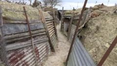 Walking in trench, soldier point of view 2. Old battlefield First World War site Stock Footage