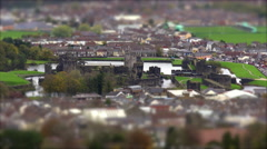 Castle Ruins in Town Centre. Tilt Shift Timelapse Stock Footage