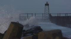 Wave Explosion at Pier North Sea Stock Footage
