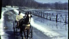 Horse Cart and Carriage Men Ride Winter 1940s Vintage Film Home Movie 8617 Stock Footage