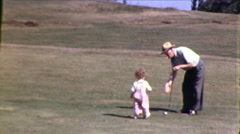 Little Girl Old Man Play Golf Course 1950s Vintage Film Home Movie 8618 Stock Footage