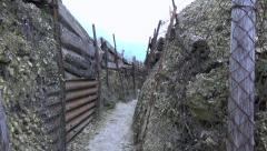 Inside the trench. Old battlefield First World War site. Zoom out. Stock Footage