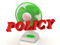 POLICY- Green Fan propeller and bright color letters on a white background Stock Illustration