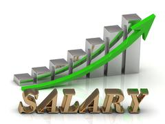 SALARY- inscription of gold letters and Graphic growth and gold arrows on whi - stock illustration
