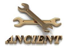 ANCIENT- inscription of metal letters and 2 keys on white background Stock Illustration
