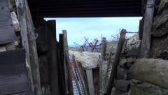 Inside the trench. Old battlefield First World War site. Zoom in. Stock Footage