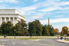 Lincoln Memorial and Washington Monument - stock photo