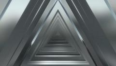 3d metallic triangle tunnel background Stock Footage