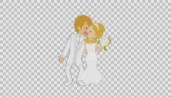 Kissing Wedding couple( blonde) - alpha channel - stock footage