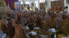 Monks waiting for start ceremony,Surin,Thailand Stock Footage