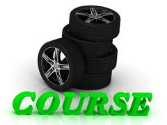 COURSE- bright letters and rims mashine black wheels on a white background Stock Illustration