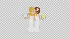 Same-sex marriage- Kissing Lesbian couple -alpha channel Stock Footage