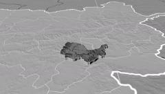 Kabul - Afghanistan province extruded. Set of four animations Stock Footage