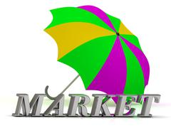 MATURE- inscription of silver letters and umbrella on white background Stock Illustration