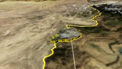 Khost - Afghanistan province extruded. Satellite Stock Footage