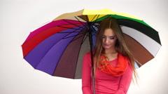 Woman under umbrella looking sad unhappy 4K Stock Footage