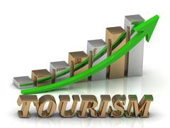 TOURISM- inscription of gold letters and Graphic growth and gold arrows on wh - stock illustration