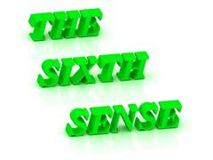 THE SIXTH SENSE - bright green letters on a white background Stock Illustration
