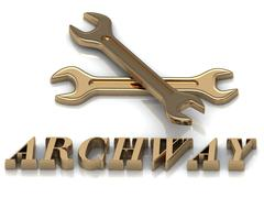 ARCHWAY- inscription of metal letters and 2 keys on white background Stock Illustration