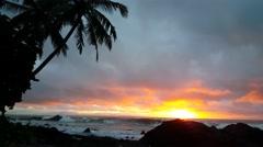 Sunrise at the coast of Montezuma Costa Rica Stock Footage