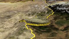 Nangarhar - Afghanistan province extruded. Satellite Stock Footage