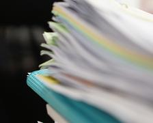 Blur of file of documents and blue file - stock photo