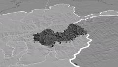 Nuristan - Afghanistan province extruded. Bumps - stock footage